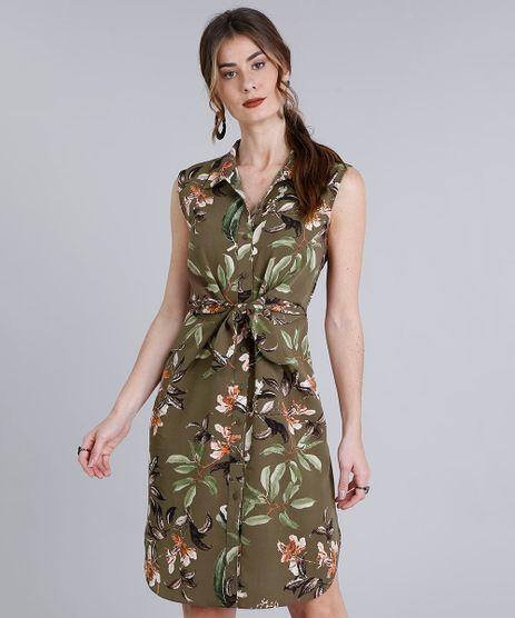 Vestido-Feminino-Curto-Estampado-Floral-com-No-Sem-Manga--Verde-9186815-Verde_1