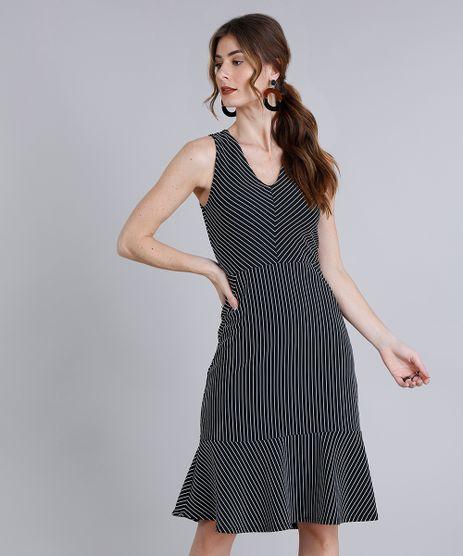 Vestido-Feminino-Curto-Listrado-com-Babado-Sem-Manga-Decote-V-Preto-9227275-Preto_1