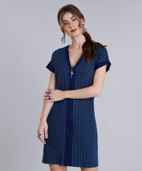Vestido-Feminino-Curto-Estampado-Geometrico-com-Recorte-Manga-Curta-Decote-V-Azul-Marinho-9212054-Azul_Marinho_1