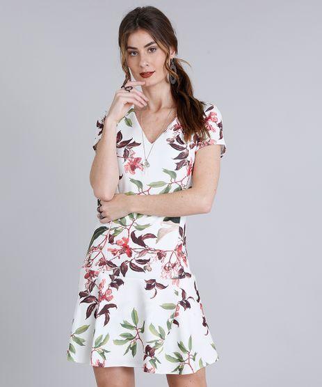 Vestido-Feminino-Curto-Estampado-Floral-com-Babado-Manga-Curta-Decote-V-Bege-Claro-9214258-Bege_Claro_1