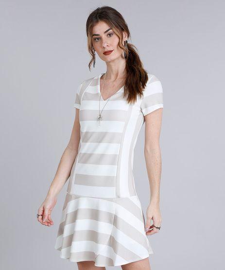 Vestido-Feminino-Curto-Listrado-com-Babado-Manga-Curta-Decote-V-Bege-Claro-9214259-Bege_Claro_1