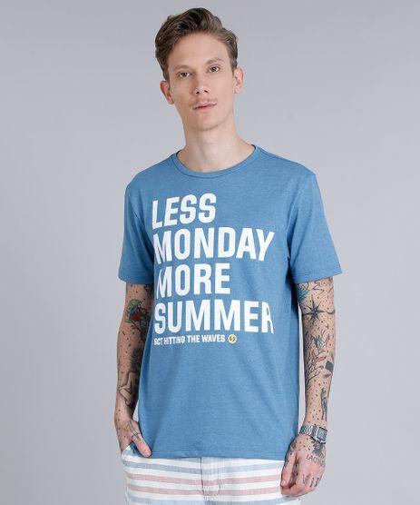 Camiseta-Masculina--Less-Monday-More-Summer--Manga-Curta-Gola-Careca--Azul-Claro-9159185-Azul_Claro_1