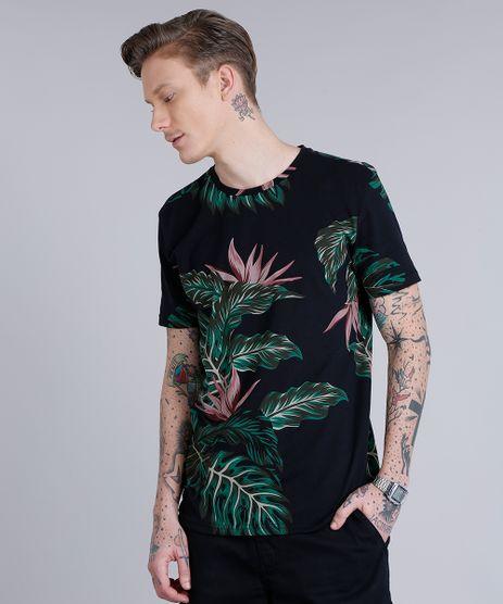 Camiseta-Masculina-Estampada-de-Folhagem-Manga-Curta-Gola-Careca--Preta-9198282-Preto_1