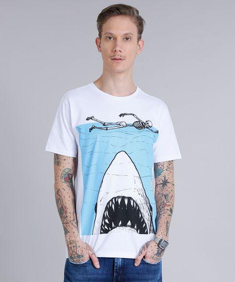Camiseta-Masculina-Estampada-de-Tubarao-Manga-Curta-Gola-Careca-Branca-9245572-Branco_1