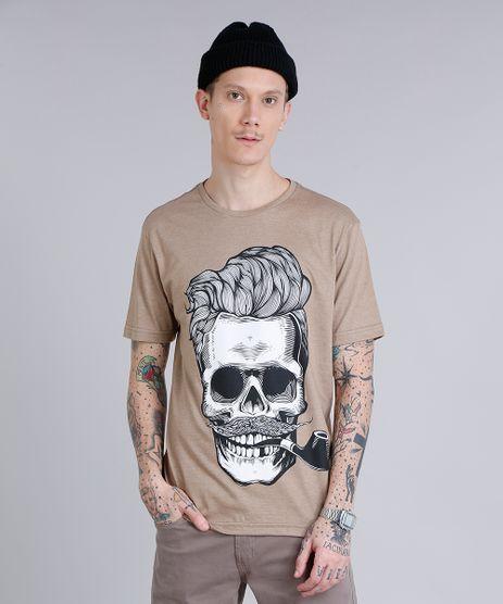 Camiseta-Masculina-com-Estampa-de-Caveira-Manga-Curta-Gola-Careca-Bege-9253176-Bege_1