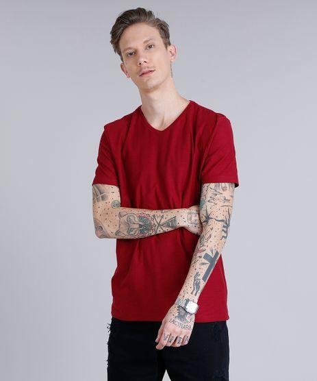 Camiseta-Masculina-Basica-Flame-Manga-Curta-Gola-V-Vinho-7647200-Vinho_1