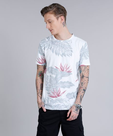 Camiseta-Masculina-Estampada-de-Folhagem-Manga-Curta-Gola-Careca--Off-White-9198282-Off_White_1