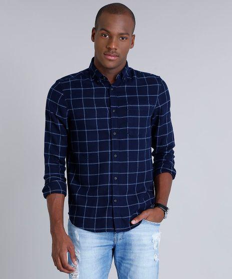 Camisa-Masculina-Comfort-em-Flanela-Estampada-Xadrez--com-Bolso-Manga-Longa-Azul-Marinho-8841744-Azul_Marinho_1