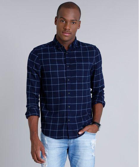 0684f8d68 Camisa Masculina Comfort em Flanela Estampada Xadrez com Bolso Manga ...