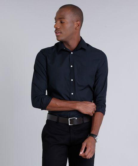 Camisa-Masculina-Comfort-com-Bolso-Manga-Longa-Preta-7591834-Preto_1