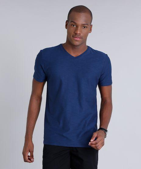 Camiseta-Masculina-Basica-Flame-Manga-Curta-Gola-V-Azul-Marinho-7647200-Azul_Marinho_1