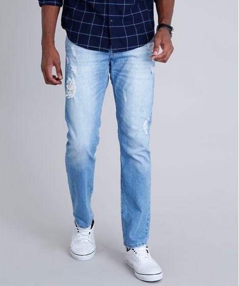 8c814b72b7 Calça Jeans Masculina Reta Destroyed com Bolsos Azul Claro - cea
