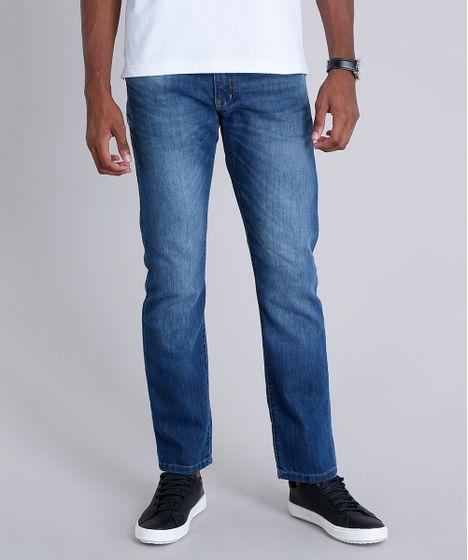 66ab2510c Calça Jeans Masculina Reta com Bolsos Azul Escuro - cea