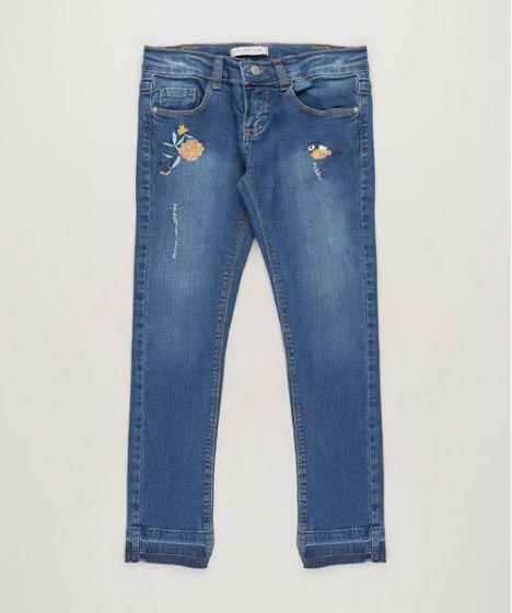 Calça Jeans Infantil com Bordados e Bolsos Azul Escuro - cea f93542f204