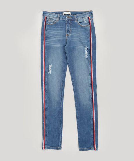 Calca-Jeans-Infantil-com-Faixa-Lateral-e-Puidos-Azul-Medio-9231978-Azul_Medio_1