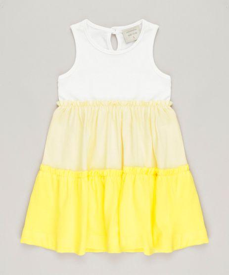 Vestido-Infantil-Curto-com-Recortes-e-Babado-Sem-Manga-Decote-Redondo-Off-White-9234398-Off_White_1