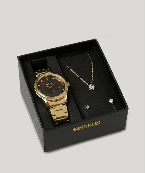 0f38be2e500 Kit de Relógio Analógico Seculus Feminino + Colar + Brinco ...