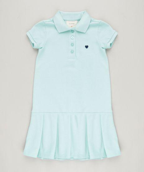 Vestido-Polo-Infantil-Curto-com-Pregas-e-Bordado-Manga-Curta-em-Piquet-Verde-Claro-9214120-Verde_Claro_1