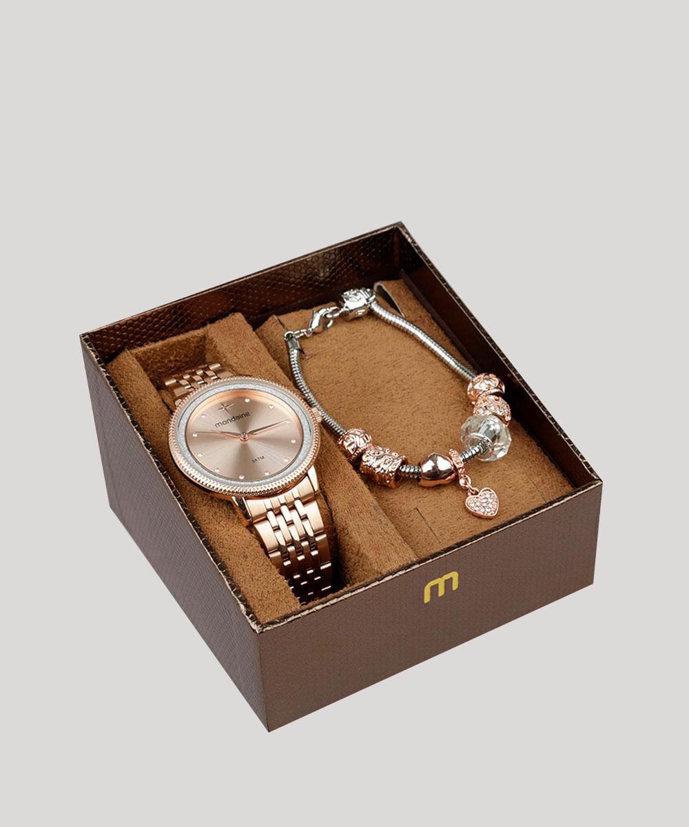 41dff9d9139 Kit de Relógio Analógico Mondaine Feminino + Pulseira - 53682LPMKRE2K Rosê  - Único. 9252780-Rose