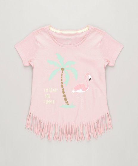 Blusa-Infantil-Flamingo-com-Glitter-e-Franjas-Manga-Curta-Decote-Redondo-em-Algodao---Sustentavel-Rose-9241757-Rose_1
