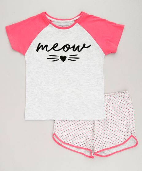 Pijama-Infantil--Meow--Raglan-Manga-Curta-Cinza-Mescla-Claro-9223720-Cinza_Mescla_Claro_1