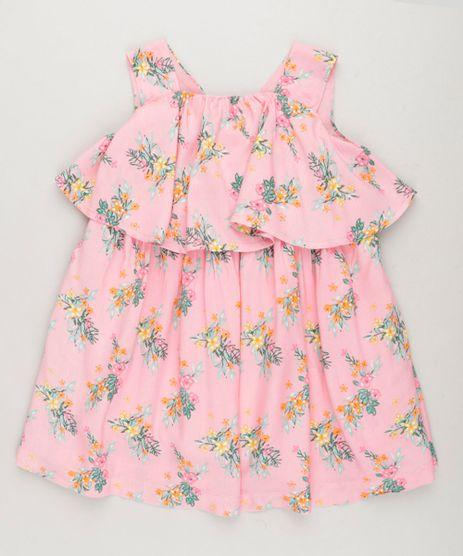 Vestido-Infantil-Curto-Estampado-Floral-com-Babado-Sem-Manga-Decote-Redondo-em-Algodao---Sustentavel-Rosa-9158425-Rosa_1