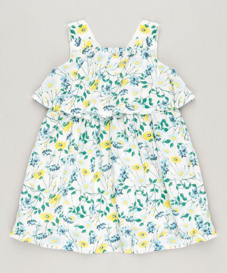 Vestido-Infantil-Curto-Estampado-Floral-com-Babado-Sem-Manga-Decote-Redondo-em-Algodao---Sustentavel-Off-White-9158424-Off_White_1