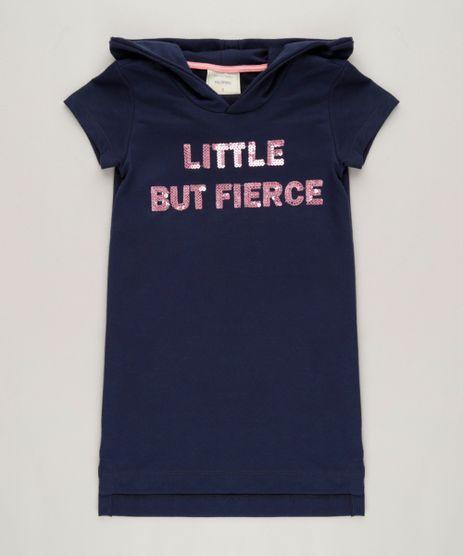 Vestido-Infantil-Curto--Little-But-Fierce--com-Paetes-e-Capuz-Manga-Curta-em-Moletom-Azul-Marinho-9232113-Azul_Marinho_1