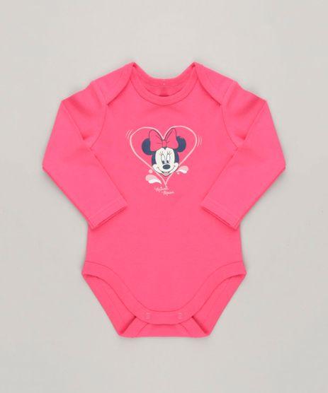Body-Infantil-Minnie-Manga-Longa-Decote-Redondo-em-Algodao---Sustentavel-Rosa-Escuro-9124372-Rosa_Escuro_1