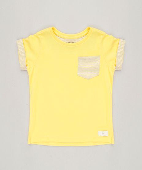 Camiseta-Infantil-com-Bolso-Manga-Curta-Gola-Careca-em-Algodao---Sustentavel-Amarela-9228693-Amarelo_1
