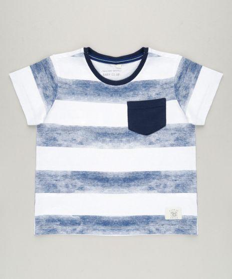 Camiseta-Infantil-Listrada-com-Bolso-Manga-Curta-Gola-Careca-em-Algodao---Sustentavel-Off-White-9227748-Off_White_1