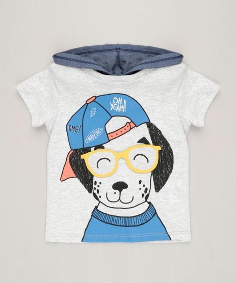 Camiseta-Infantil-com-Estampa-Interativa-de-Cachorro-e-Capuz-Manga-Curta-Gola-Careca-Cinza-Mescla-Claro-9227463-Cinza_Mescla_Claro_1