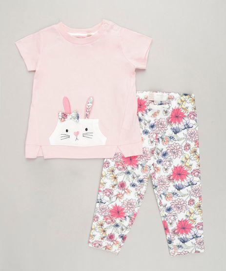 Conjunto-Infantil-Coelhinho-de-Blusa-Manga-Curta-Rosa---Calca-Legging-Estampada-Floral-em-Algodao---Sustentavel-Off-White-9117943-Off_White_1