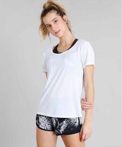 0cdf4539a0 Blusa Feminina Esportiva Ace Manga Curta Decote Redondo Branca - cea