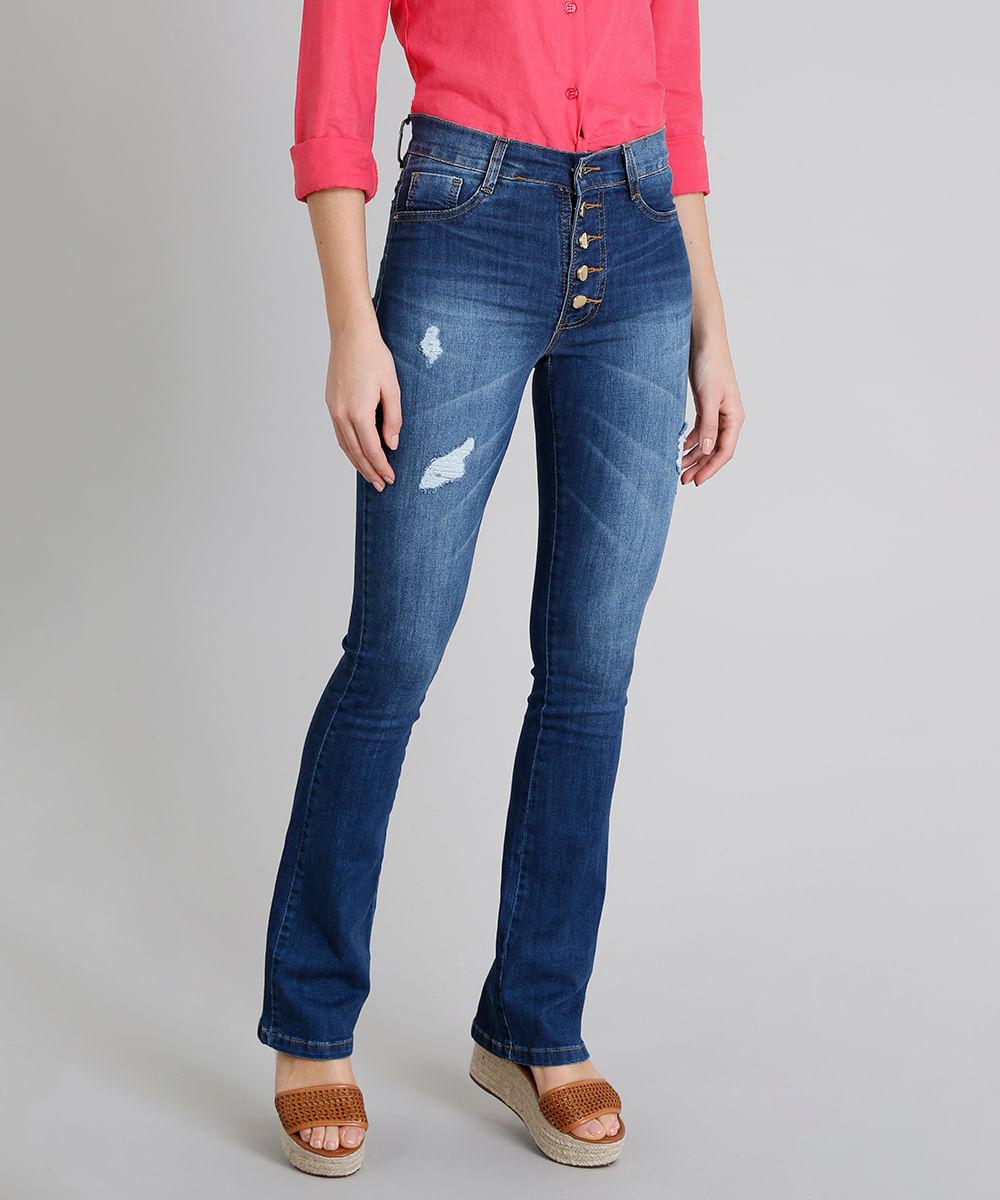f9c8497f3 Calça Jeans Feminina Boot Cut Sawary Cintura Alta com Botões Azul Escuro
