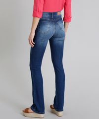 a6d008cd0 Calça Jeans Feminina Boot Cut Sawary Cintura Alta com Botões Azul ...