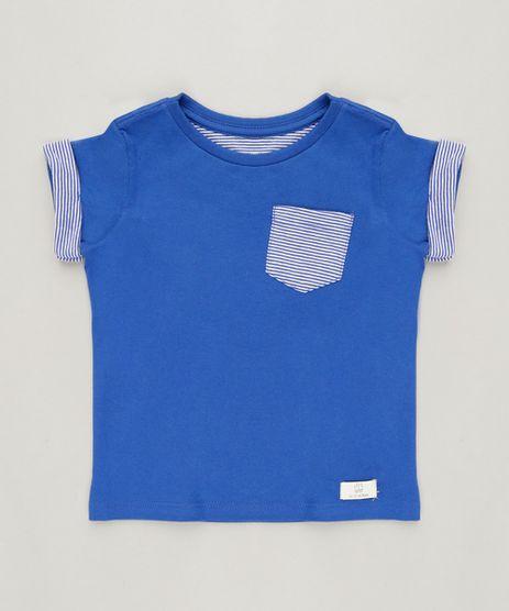Camiseta-Infantil-com-Bolso-Manga-Curta-Gola-Careca-em-Algodao---Sustentavel-Azul-9228708-Azul_1