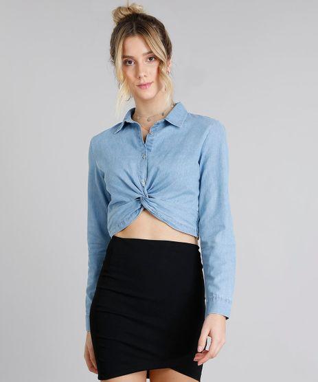 Camisa-Jeans-Feminina-Cropped-com-No-Manga-Longa-Azul-Claro-9217847-Azul_Claro_1