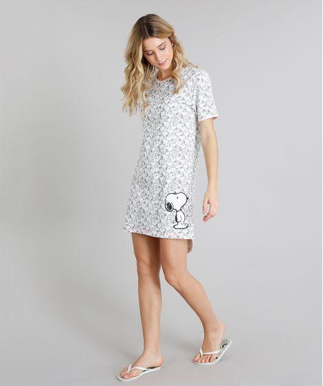 41335e842a Camisola Feminina Estampada do Snoopy Manga Curta Off White - cea