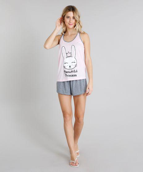 Pijama-Feminino-com-Estampa-de-Coelho-Alca-Media-Rosa-Claro-9222803-Rosa_Claro_1
