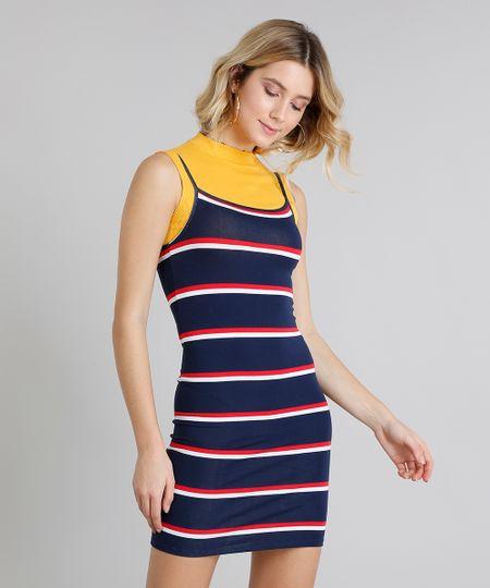 6dc54174f Menor preço em Vestido Feminino Básico Curto Listrado Alça Fina Decote  Redondo Azul Marinho