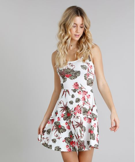 b3a7a73f2 Vestido Feminino Evasê Curto Estampado Floral Sem Manga Decote ...
