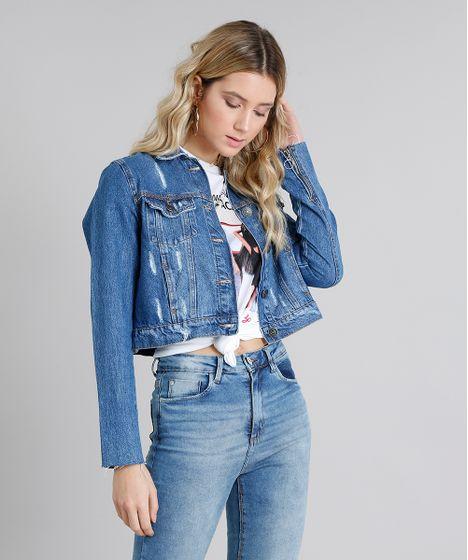 ef1033957 Jaqueta Jeans Feminina Cropped Destroyed Manga Longa Azul Médio - cea