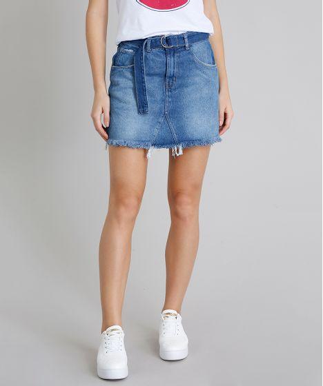303f44e99 Saia Jeans Feminina com Bolsos e Cinto Azul Médio - cea