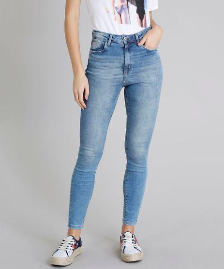 Calca-Jeans-Feminina-Super-Skinny-com-Bolsos-Azul-Medio-9211155-Azul_Medio_1