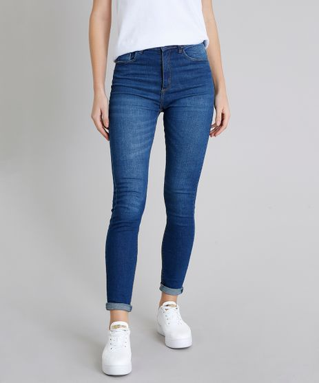 Calca-Jeans-Feminina-Super-Skinny-com-Bolsos-Azul-Medio-9211156-Azul_Medio_1