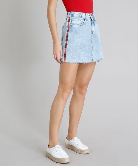 Saia-Jeans-Feminina-com-Faixa-Lateral-e-Bolsos-Azul-Claro-9209355-Azul_Claro_1