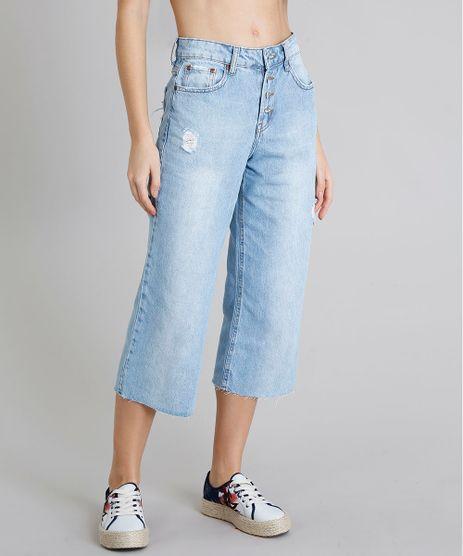 Calca-Jeans-Feminina-Pantacourt-com-Puidos-e-Bolsos-Azul-Claro-9217858-Azul_Claro_1