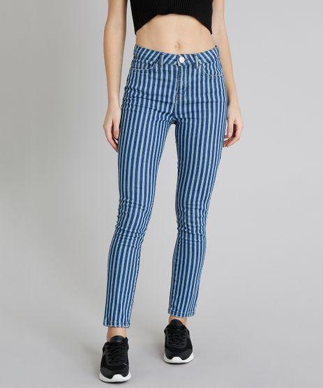 Calca-Jeans-Feminina-Skinny-Listrada-com-Bolsos-Azul-Medio-9219883-Azul_Medio_1
