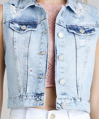 d37127b821 Colete Jeans Feminino Cropped Destroyed Azul Claro - ceacollections